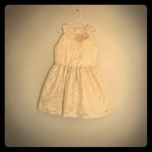 Child's cream and gold floral print dress